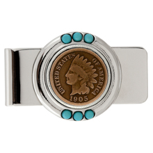 Indian Head Penny Turquoise Money Clip