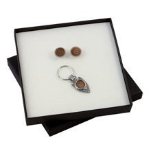 Indian Head Penny Silver Tone Rope Cuff Links and Arrow Head Keychain Boxed Gift Set