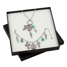 Buffalo Nickel Silver Tone Cross and Feather Pendant and Bracelet Boxed Gift Set