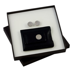 Buffalo Nickel Cuff Links and Black Leather Wallet Style Money Clip Boxed Gift Set