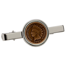 Indian Penny Silvertone Tie Clip
