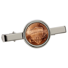 Lincoln Union Shield Penny Silvertone Tie Clip
