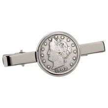Liberty Nickel Silvertone Tie Clip