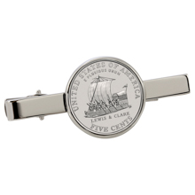 Westward Journey Keelboat Nickel Silvertone Tie Clip