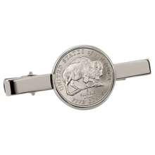 Westward Journey Bison Nickel Silvertone Tie Clip