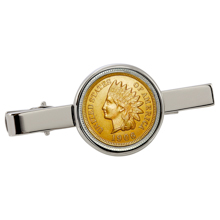 Gold-Layered Indian Penny Silvertone Tie Clip