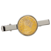 Gold-Layered Liberty Nickel Silvertone Tie Clip