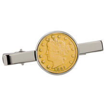 Gold-Layered 1800's Liberty Nickel Silvertone Tie Clip