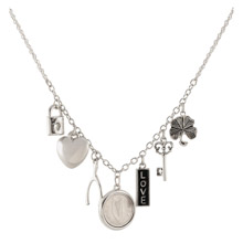 Silvertone Irish Coin Charm Necklace