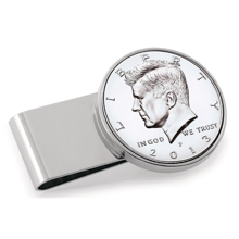 JFK Half Dollar Stainless Steel Silvertone Money Clip