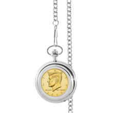 Gold-Layered JFK Half Dollar Pocket Watch