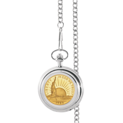 Gold-Layered Statue of Liberty Commemorative Half Dollar Pocket Watch