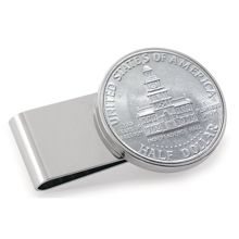 JFK Bicentennial Half Dollar Stainless Steel Silvertone Money Clip