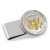 Selectively Gold-Layered Presidential Seal JFK Half Dollar Stainless Steel Silvertone Money Clip