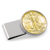 Gold-Layered Silver Walking Liberty Half Dollar Stainless Steel Silvertone Money Clip