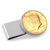 Gold-Layered JFK 1964 First Year of Issue Half Dollar Stainless Steel Silvertone Money Clip
