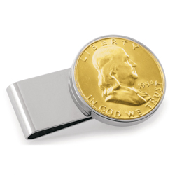 Gold-Layered Silver Franklin Half Dollar Stainless Steel Silvertone Money Clip