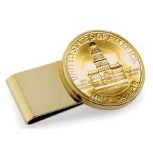 Gold-Layered JFK Bicentennial Half Dollar Stainless Steel Goldtone Money Clip