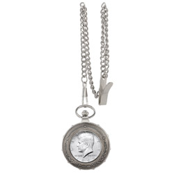 JFK Half Dollar Silvertone Train Pocket Watch
