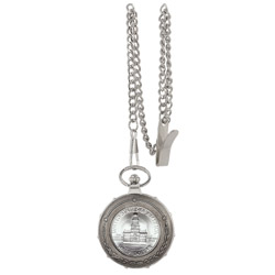 JFK Bicentennial Half Dollar Silvertone Train Pocket Watch