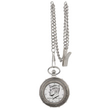Proof JFK Half Dollar Silvertone Train Pocket Watch