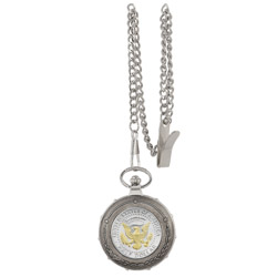 Selectively Gold-Layered Presidential Seal Half Dollar Silvertone Train Pocket Watch