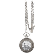Statue of Liberty Commemorative Half Dollar Silvertone Train Pocket Watch