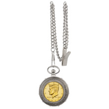 Gold-Layered JFK Half Dollar Silvertone Train Pocket Watch