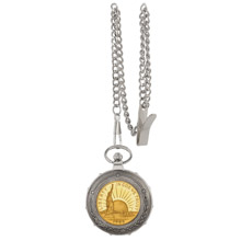 Gold-Layered Statue of Liberty Commemorative Half Dollar Silvertone Train Pocket Watch