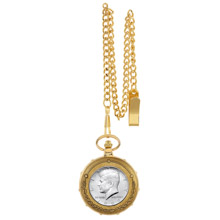 JFK Half Dollar Goldtone Train Pocket Watch with Skeleton Movement
