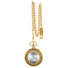 JFK Bicentennial Half Dollar Goldtone Train Pocket Watch with Skeleton Movement