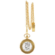 Proof JFK Half Dollar Goldtone Train Pocket Watch with Skeleton Movement