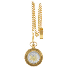 Selectively Gold-Layered Presidential Seal Half Dollar Goldtone Train Pocket Watch with Skeleton Movement
