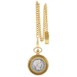 Silver Barber Half Dollar Goldtone Train Pocket Watch with Skeleton Movement