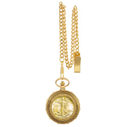Gold-Layered Silver Walking Liberty Half Dollar Goldtone Train Pocket Watch with Skeleton Movement