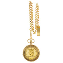 Gold-Layered JFK Half Dollar Goldtone Train Pocket Watch with Skeleton Movement