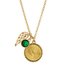 Gold Tone Angel Coin Pendant with Emerald Stone and Wing