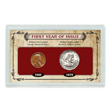 First Year of Issue Lincoln Memorial Penny and Susan B. Anthony Dollar