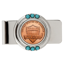 Lincoln Union Shield Penny Turquoise Money Clip