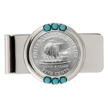 Westward Journey Keelboat Nickel Turquoise Money Clip