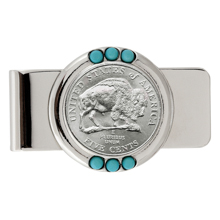Westward Journey Bison Nickel Turquoise Money Clip