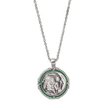 Buffalo Nickel Green Enamel Coin Pendant Necklace