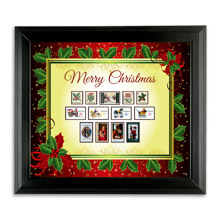 Framed Vintage Christmas Stamps