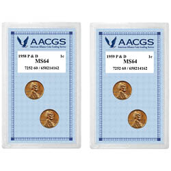 1958 Lincoln Wheat Pennies P&D Graded MS64 + 1959 Lincoln Memorial Pennies P&D Graded MS64