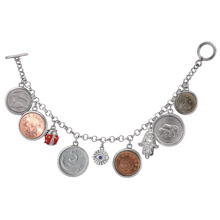 Lucky Coin Charm Toggle Bracelet