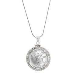 Silver Mexican Libertad Coin Sterling Silver Necklace