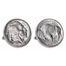 Buffalo Nickel Silvertone Bezel Cuff Links