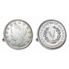 Liberty Nickel Silvertone Bezel Cuff Links