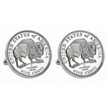 Westward Journey 2005 Bison Jefferson Nickel Silvertone Bezel Cuff Links