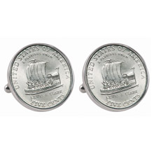 Westward Journey 2004 Keelboat Jefferson Nickel Silvertone Bezel Cuff Links
